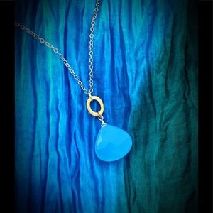 Sterling Vermeil, Blue Chalcedony pendant